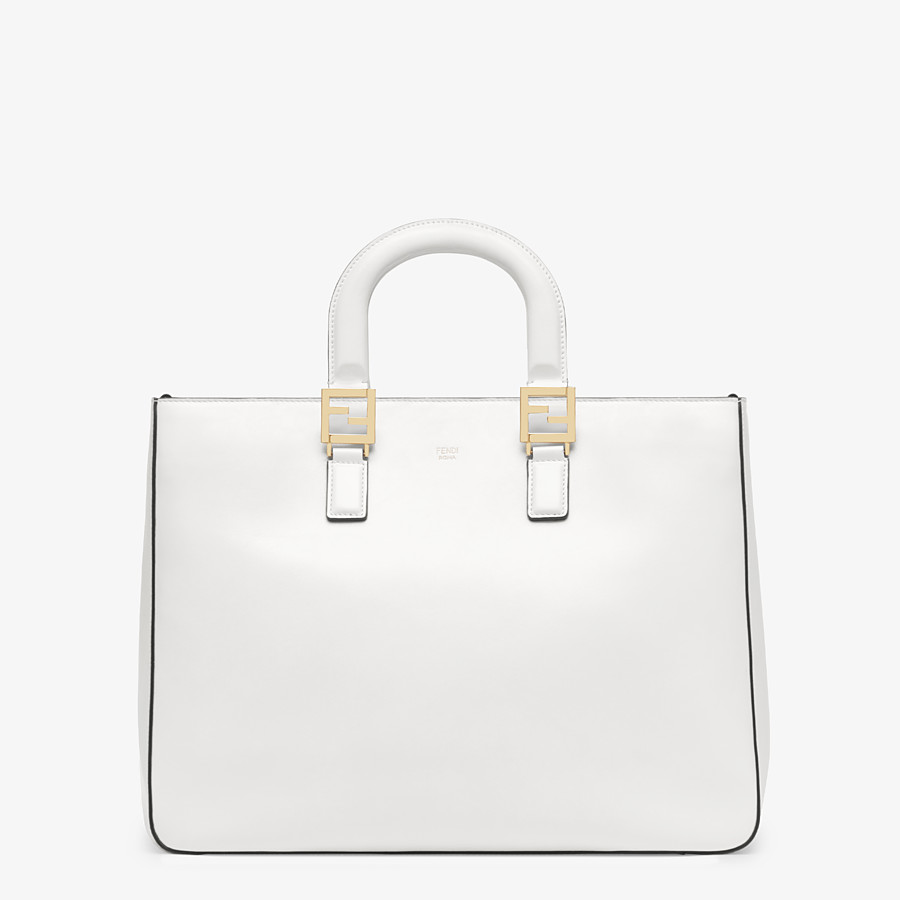 FENDI FF TOTE MEDIUM - White leather bag - view 1 detail