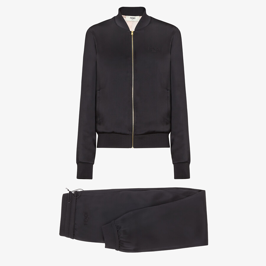 FENDI JUMPSUIT - Black satin sweatshirt and pants - view 1 detail