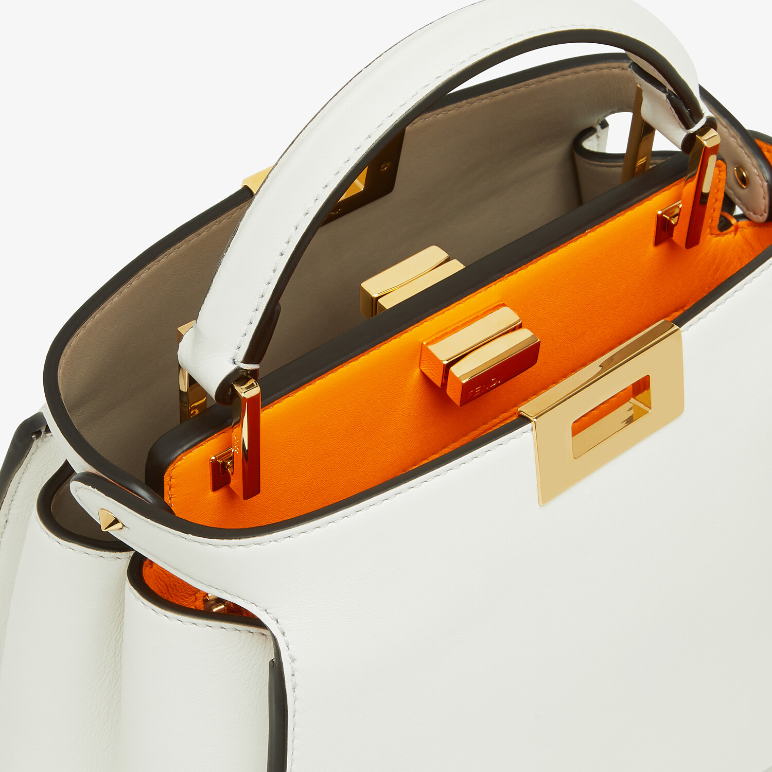 FENDI PEEKABOO ICONIC ESSENTIALLY - White leather bag - view 5 detail