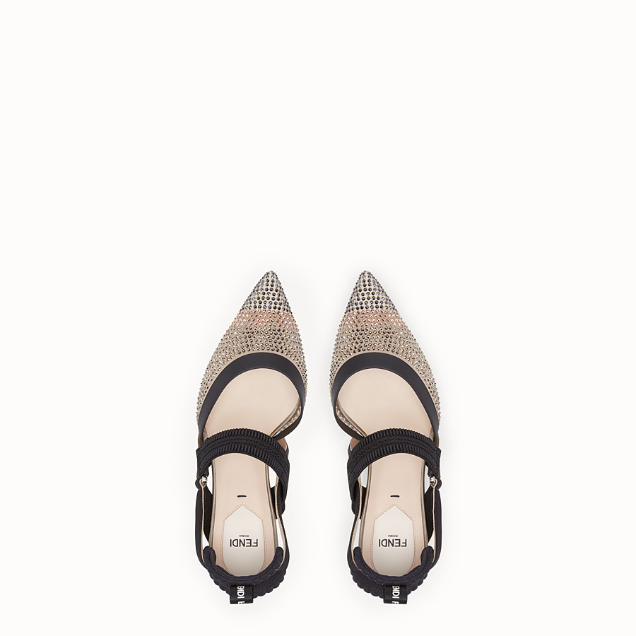 FENDI PUMPS - Beige mesh slingbacks - view 4 detail