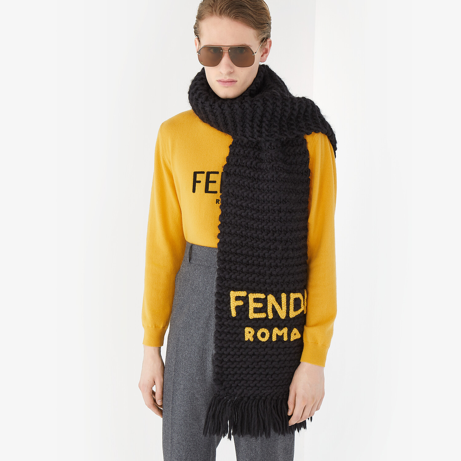 FENDI SCARF - Black wool scarf - view 3 detail