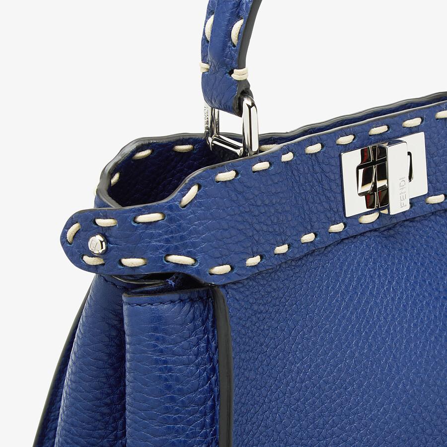FENDI PEEKABOO ICONIC MINI - Blue full grain leather bag - view 5 detail