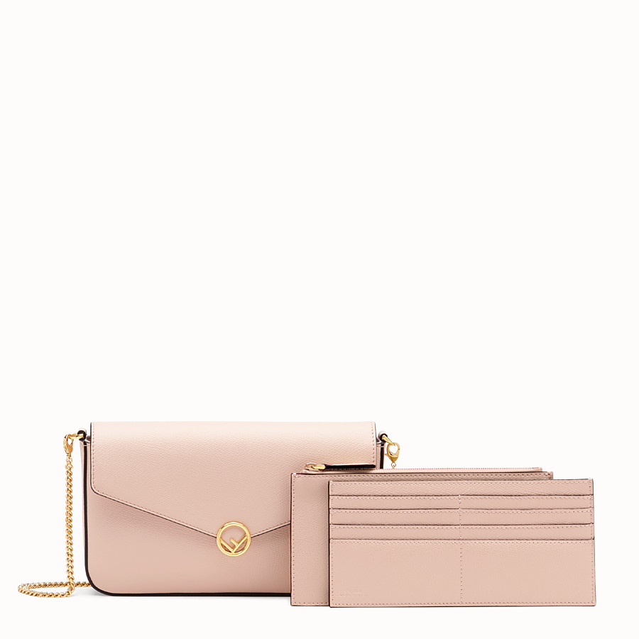 FENDI WALLET ON CHAIN WITH POUCHES - Pink leather minibag - view 3 detail