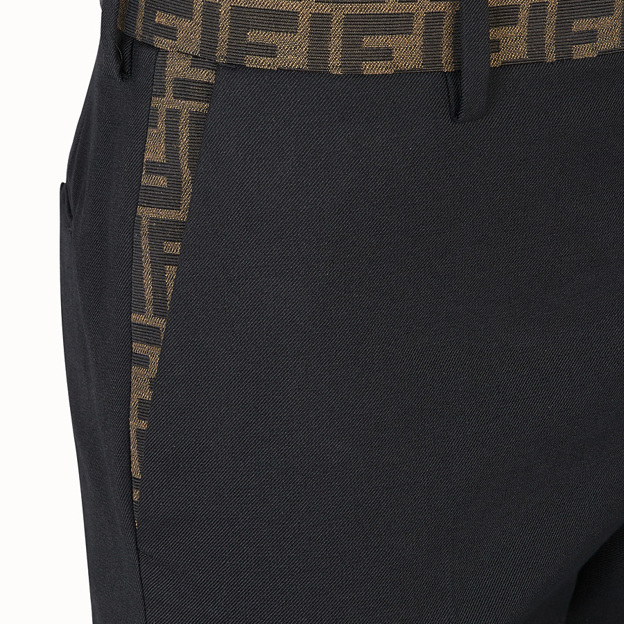 FENDI TROUSERS - Black trousers in tech gabardine - view 3 detail