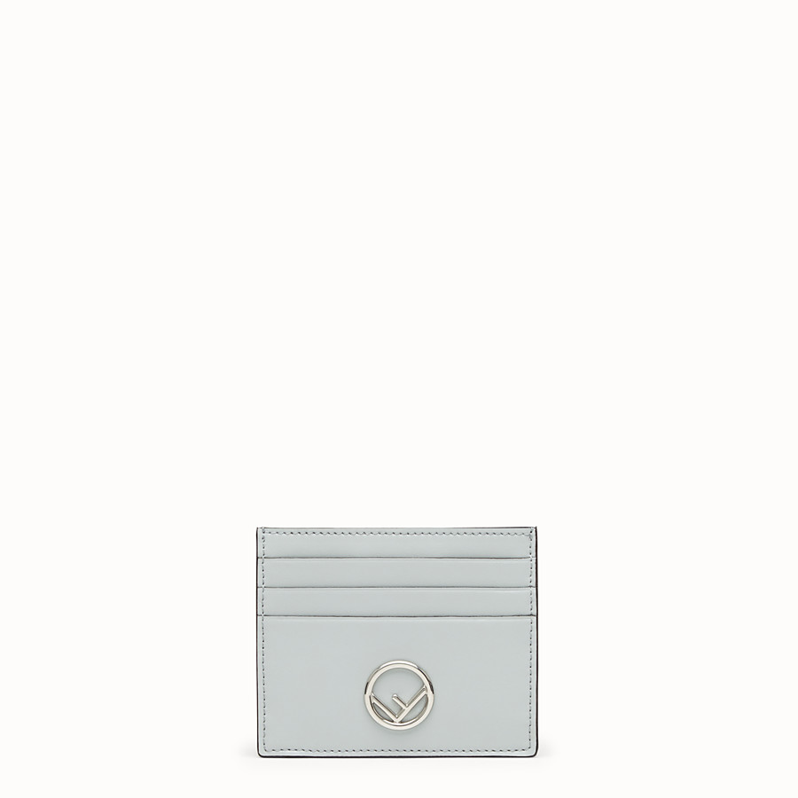 FENDI CARD HOLDER - Grey leather flat card holder - view 1 detail