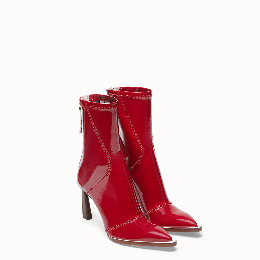 FENDI ANKLE BOOTS - Glossy red neoprene ankle boots - view 4 detail