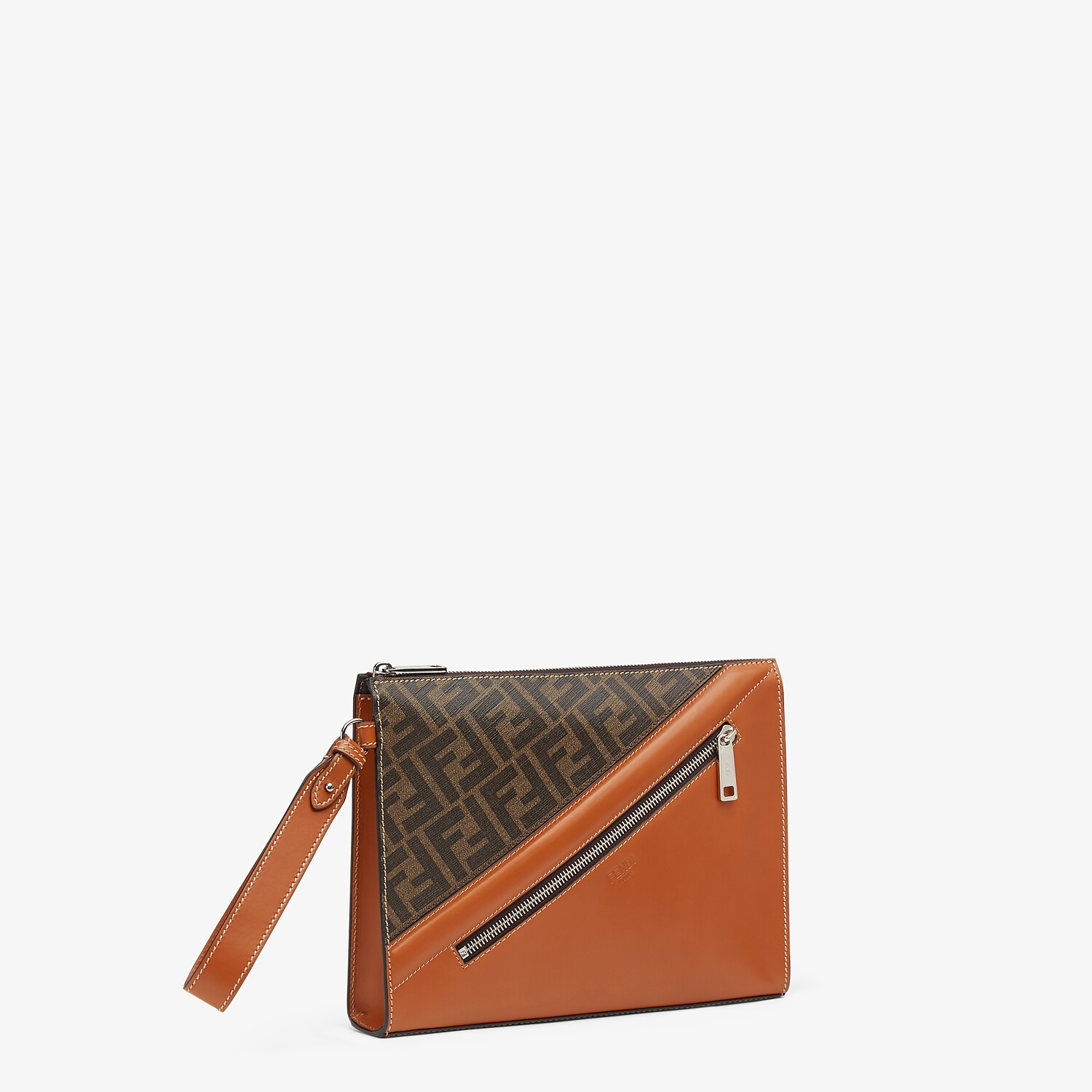 FENDI FLAT POUCH - Brown fabric pouch - view 2 detail