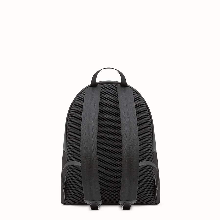 FENDI BACKPACK - Black nylon backpack with exotic leather details - view 3 detail