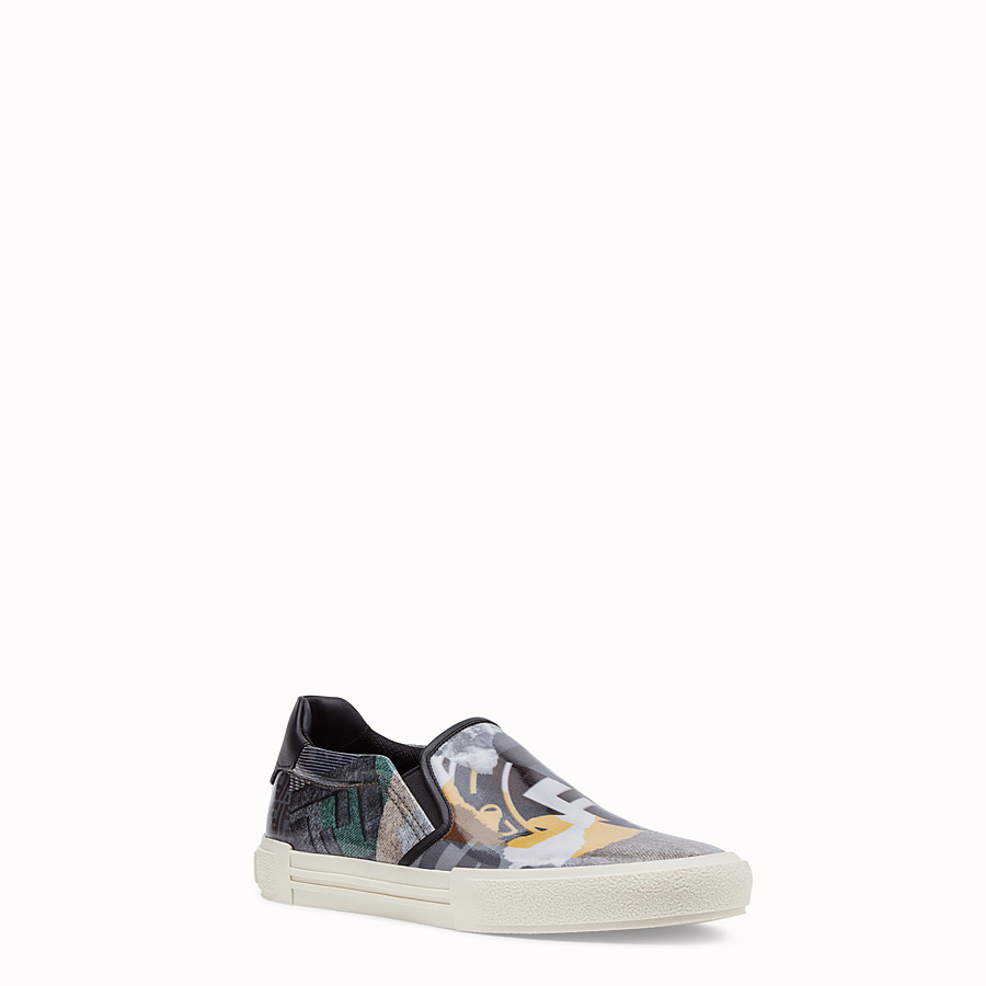 FENDI SNEAKERS - Multicolour coated nylon slip-ons - view 2 detail