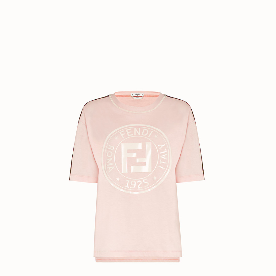 FENDI T-SHIRT - Pink cotton jersey T-shirt - view 1 detail