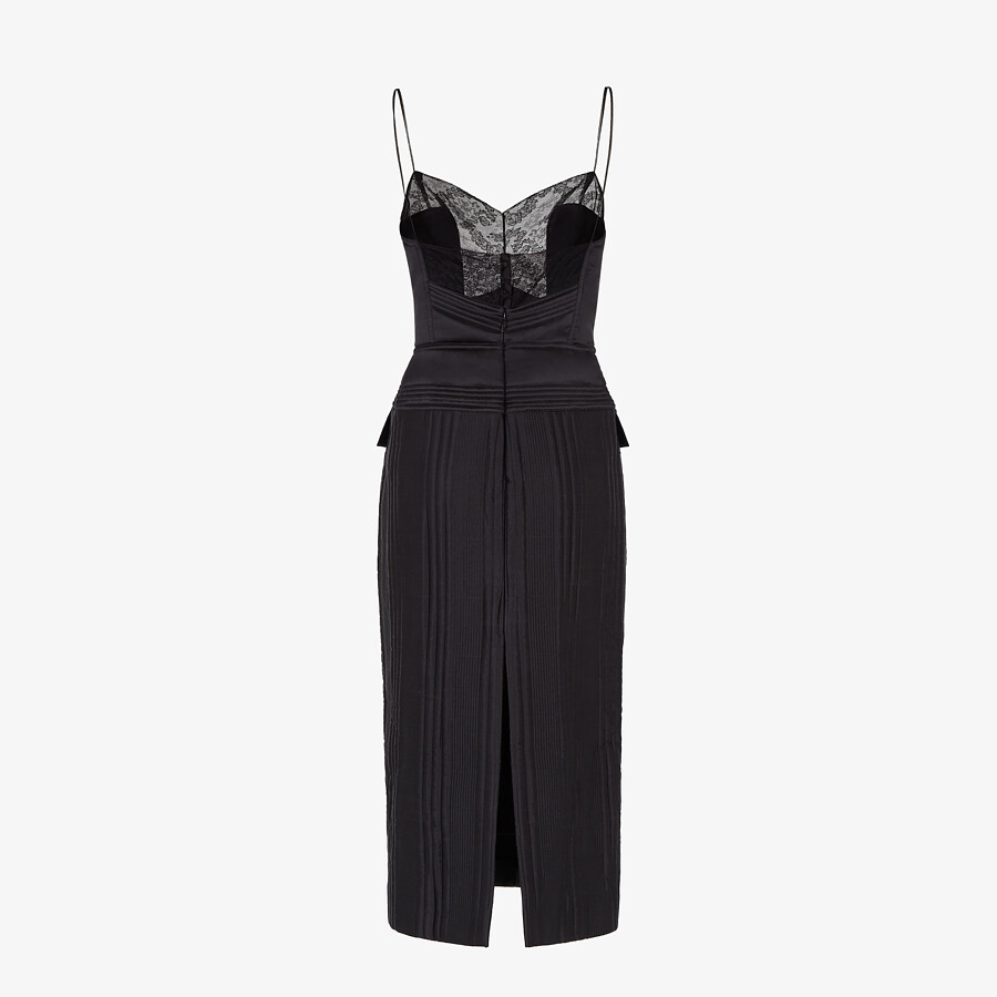 FENDI DRESS - Black satin dress - view 2 detail