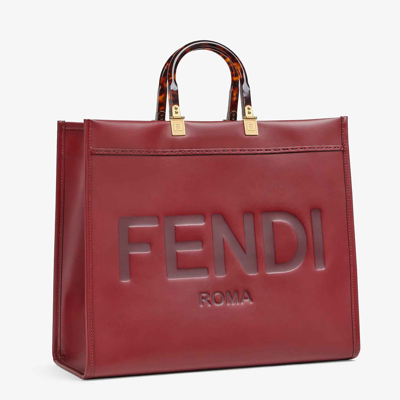 FENDI SUNSHINE SHOPPER - Burgundy leather shopper - view 2 detail
