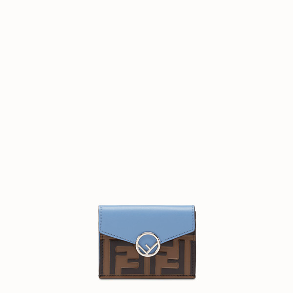 FENDI MICRO TRIFOLD - Pale blue leather wallet - view 1 small thumbnail