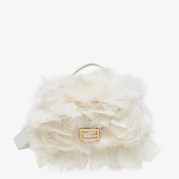 White nappa leather and feather bag