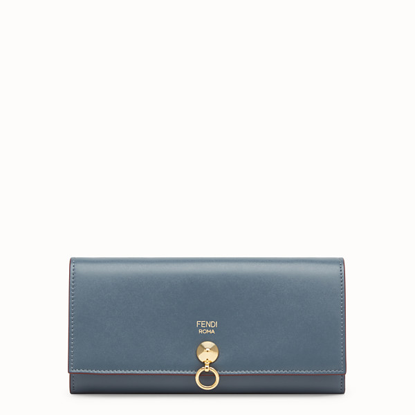 FENDI CONTINENTAL WITH CHAIN - Blue leather wallet - view 1 small thumbnail
