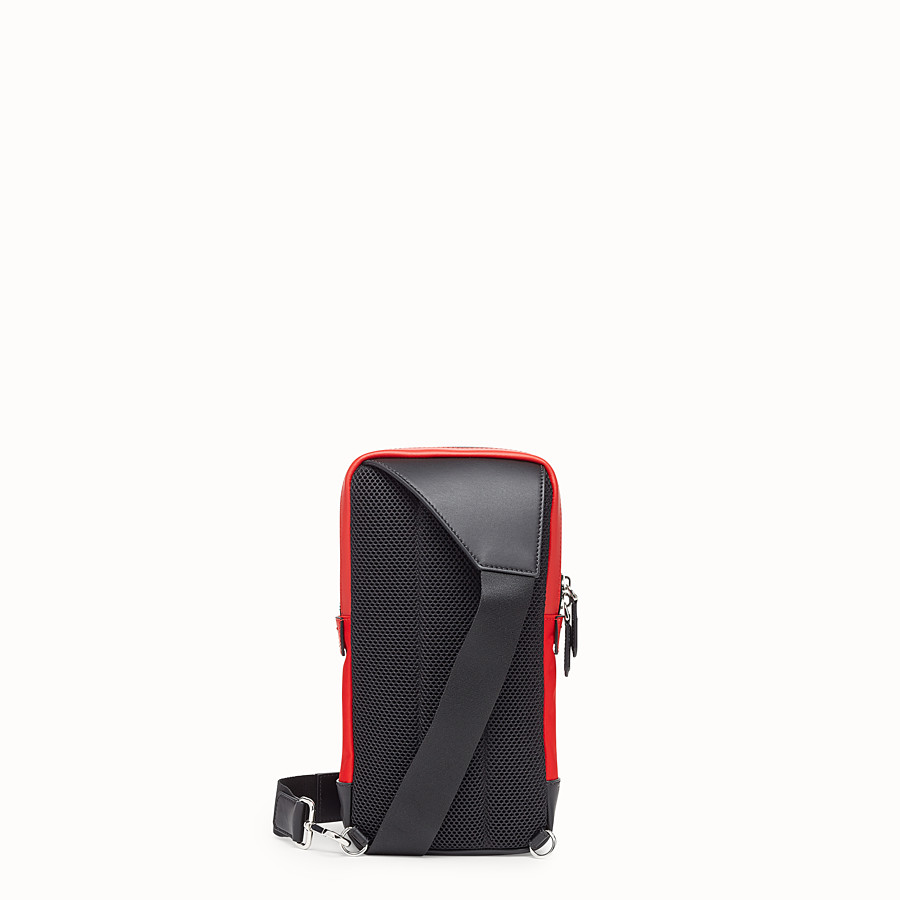 FENDI BELT BAG - Red fabric and leather one-shoulder backpack - view 3 detail