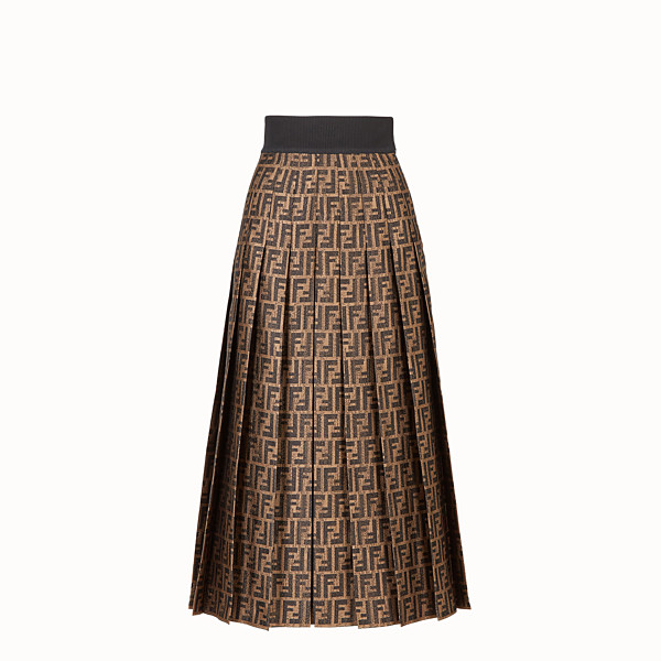 FENDI GONNA - Gonna in seta jacquard marrone - vista 1 thumbnail piccola