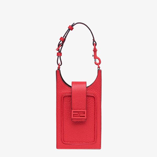 Handyhalter aus Leder in Rot