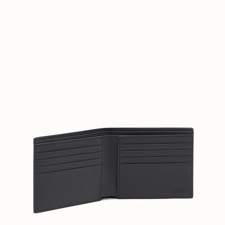 FENDI WALLET - Black leather bi-fold with inlays - view 3 detail