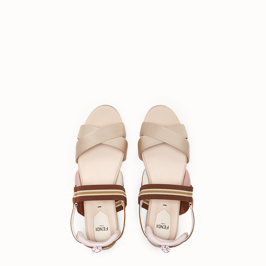 FENDI SANDALS - Beige tech fabric flats - view 4 detail