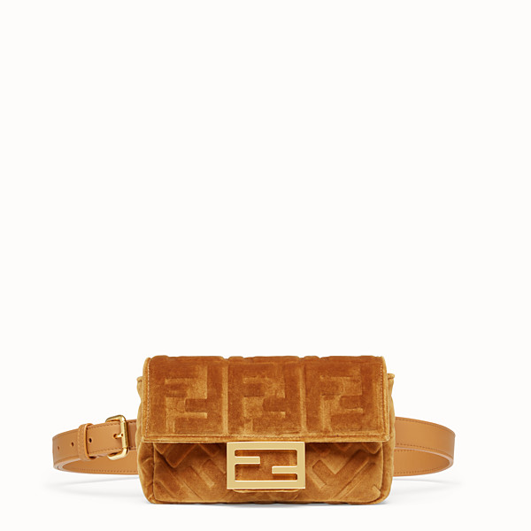 FENDI BELT BAG - Brown velvet mini-bag - view 1 small thumbnail