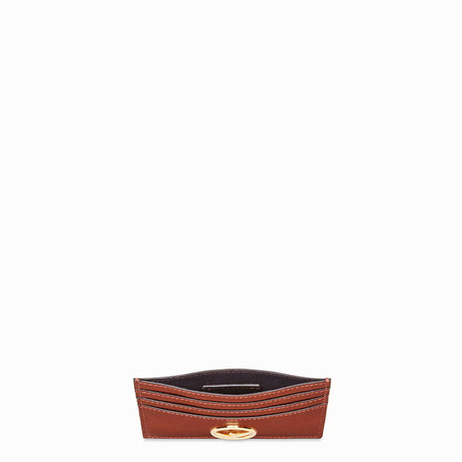 FENDI CARD HOLDER - Brown leather flat business card holder - view 3 detail