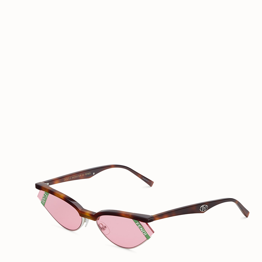 FENDI GENTLE Fendi No. 1 - Havana and pink sunglasses - view 2 detail