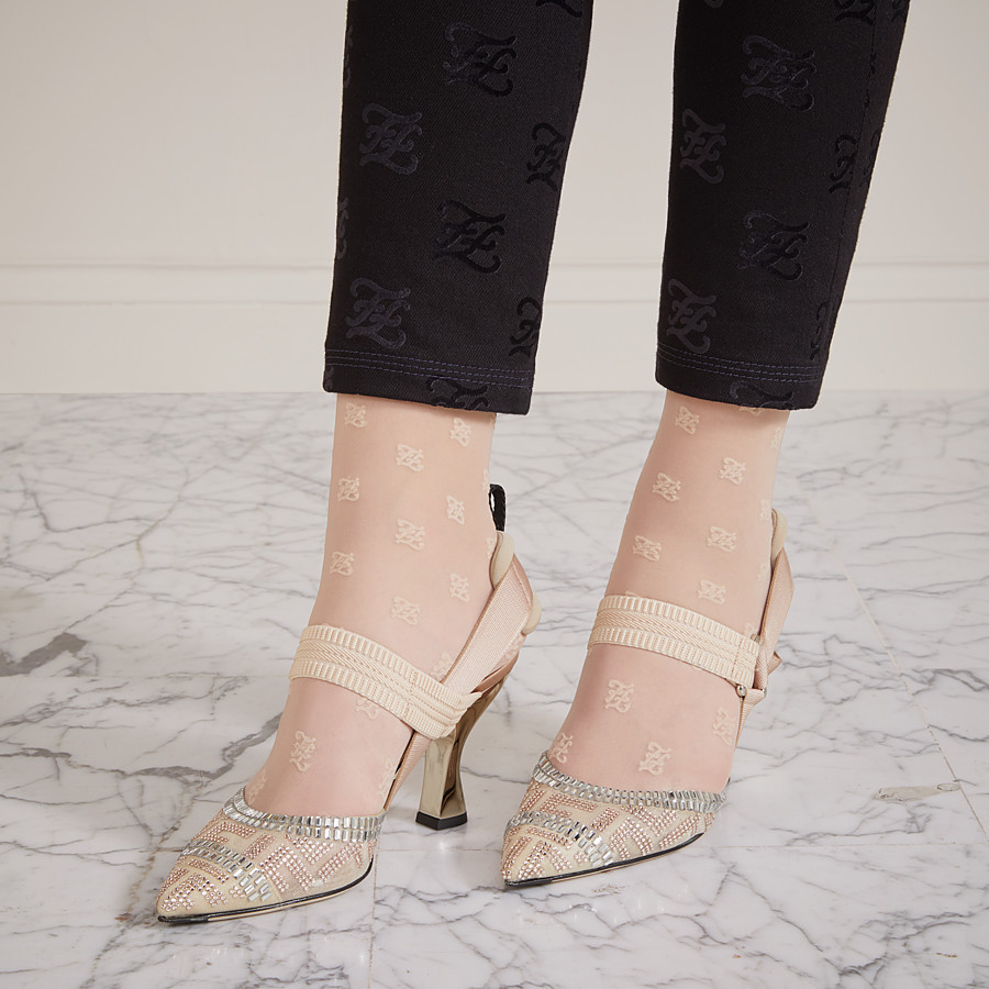 FENDI SLINGBACKS - Colibrì in nude mesh and leather - view 5 detail