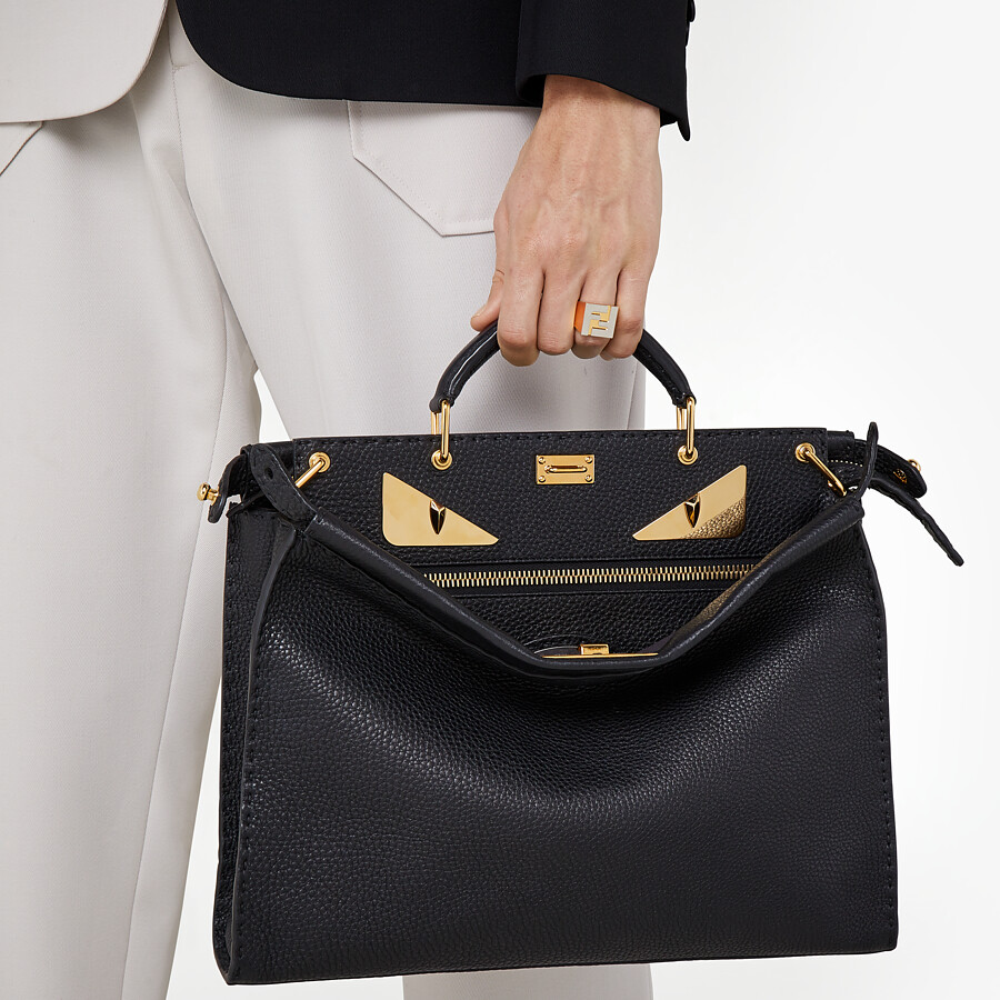 FENDI PEEKABOO ICONIC FIT - Black Roman leather bag - view 5 detail