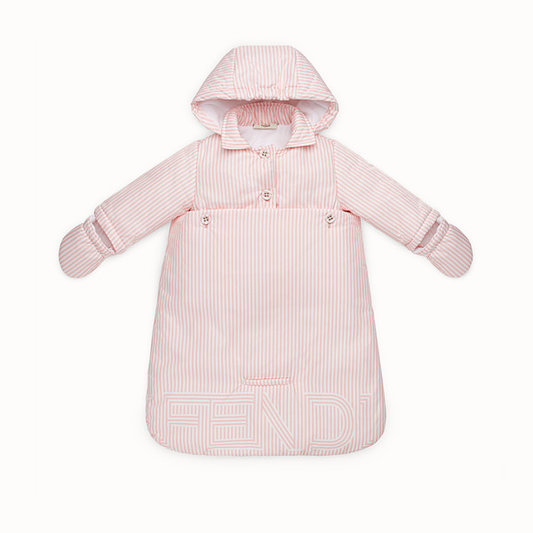 FENDI FOOTMUFF - Baby girl's striped ivory and pink padded footmuff - view 1 small thumbnail