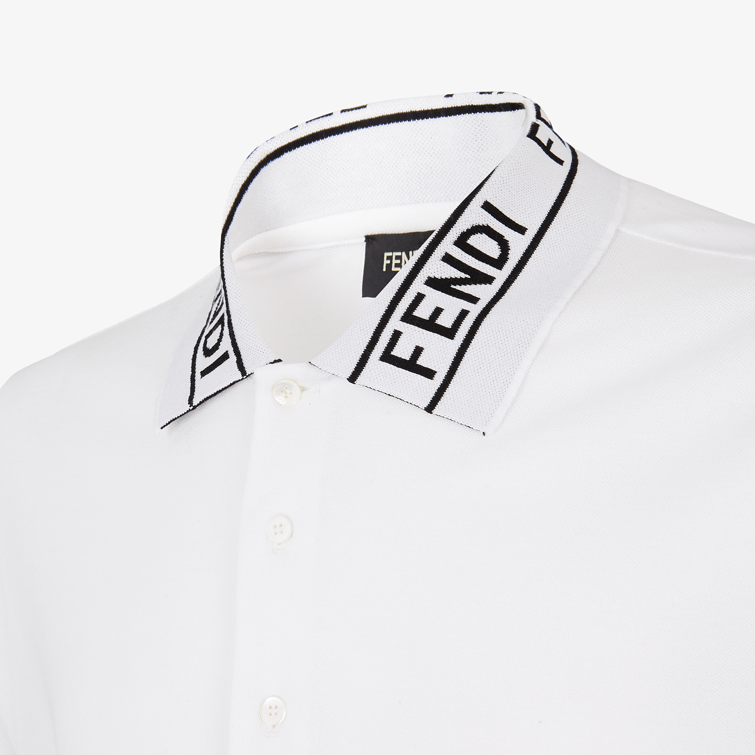 FENDI POLO SHIRT - White piqué sweater - view 3 detail