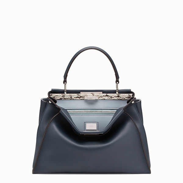 FENDI PEEKABOO ICONIC MEDIUM - Blue leather bag with exotic details - view 1 small thumbnail