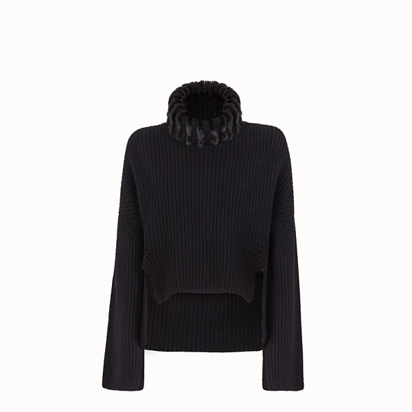 FENDI PULLOVER - Black cashmere jumper - view 1 small thumbnail