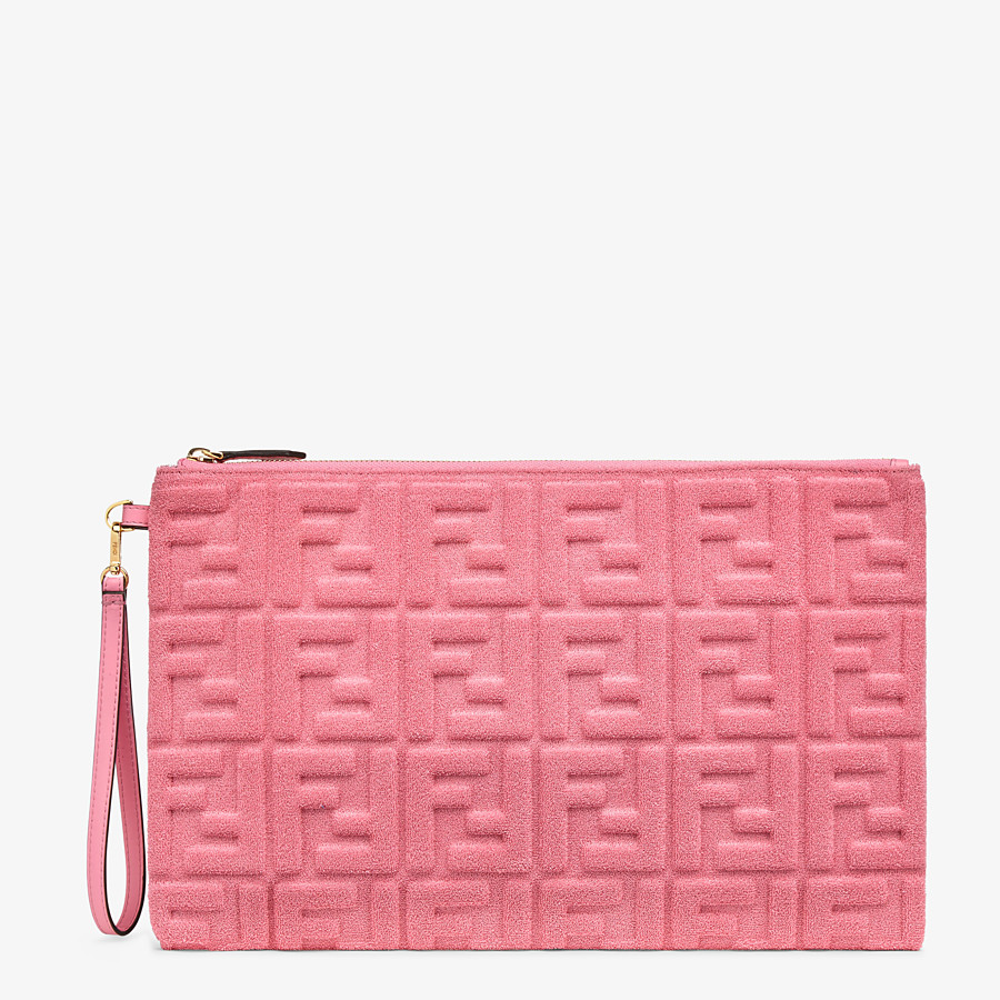 FENDI FLAT POUCH LARGE - Pink terrycloth pouch - view 1 detail