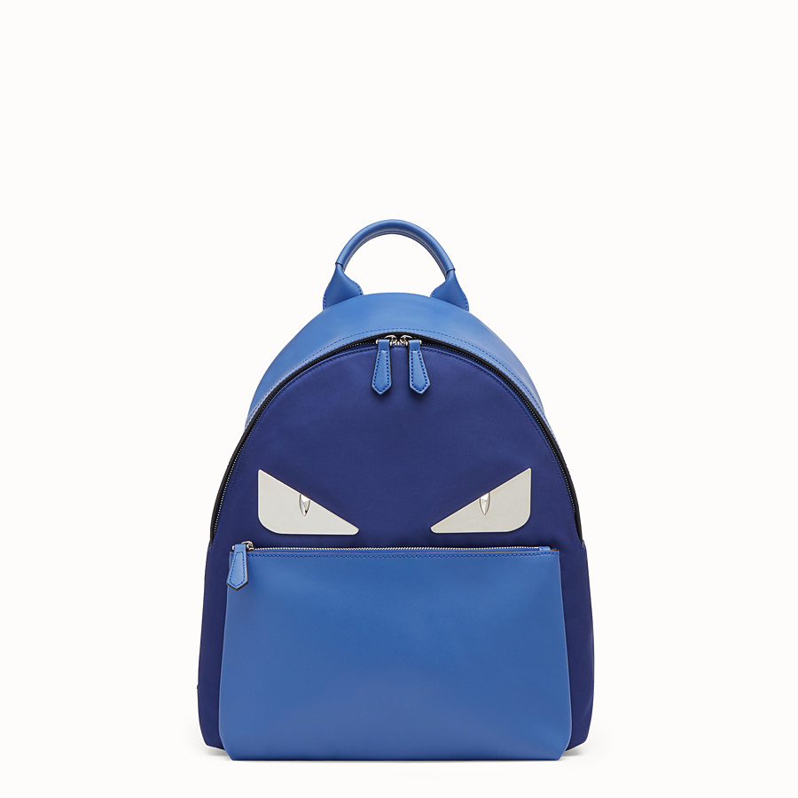 FENDI BAG BUGS BACKPACK - Fabric and blue leather backpack - view 1 detail