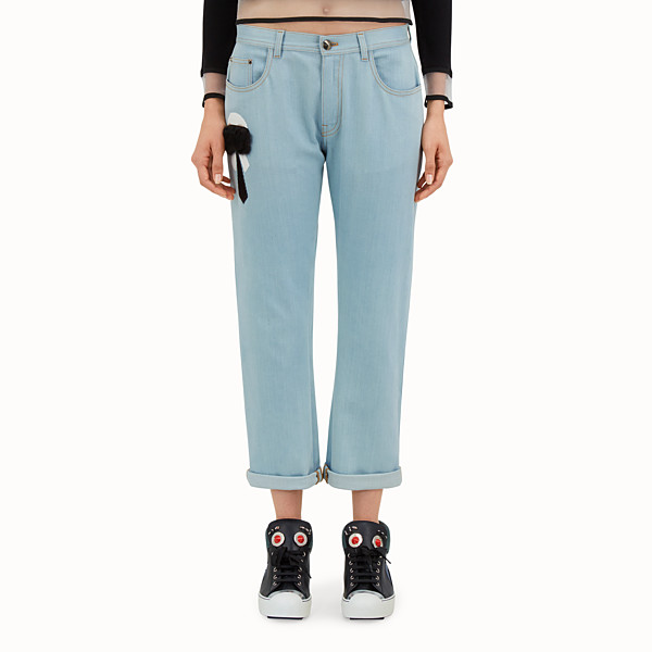 FENDI TROUSERS - Light blue denim trousers - view 1 small thumbnail