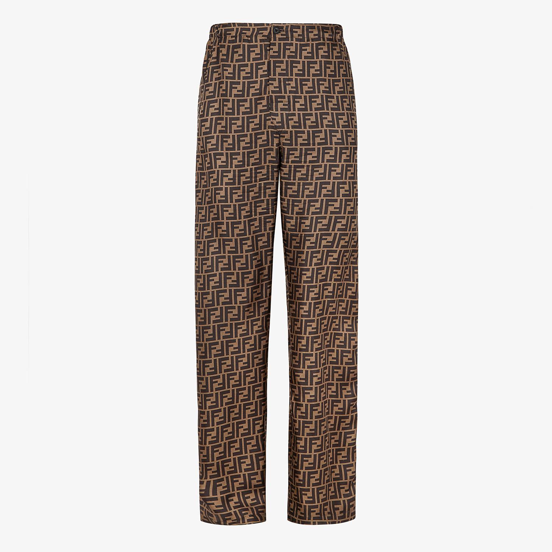 FENDI TROUSERS - Brown silk trousers - view 1 detail