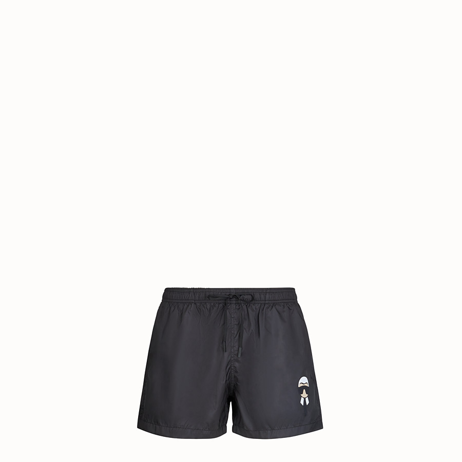 FENDI SWIM SHORTS - Black tech fabric shorts - view 1 detail