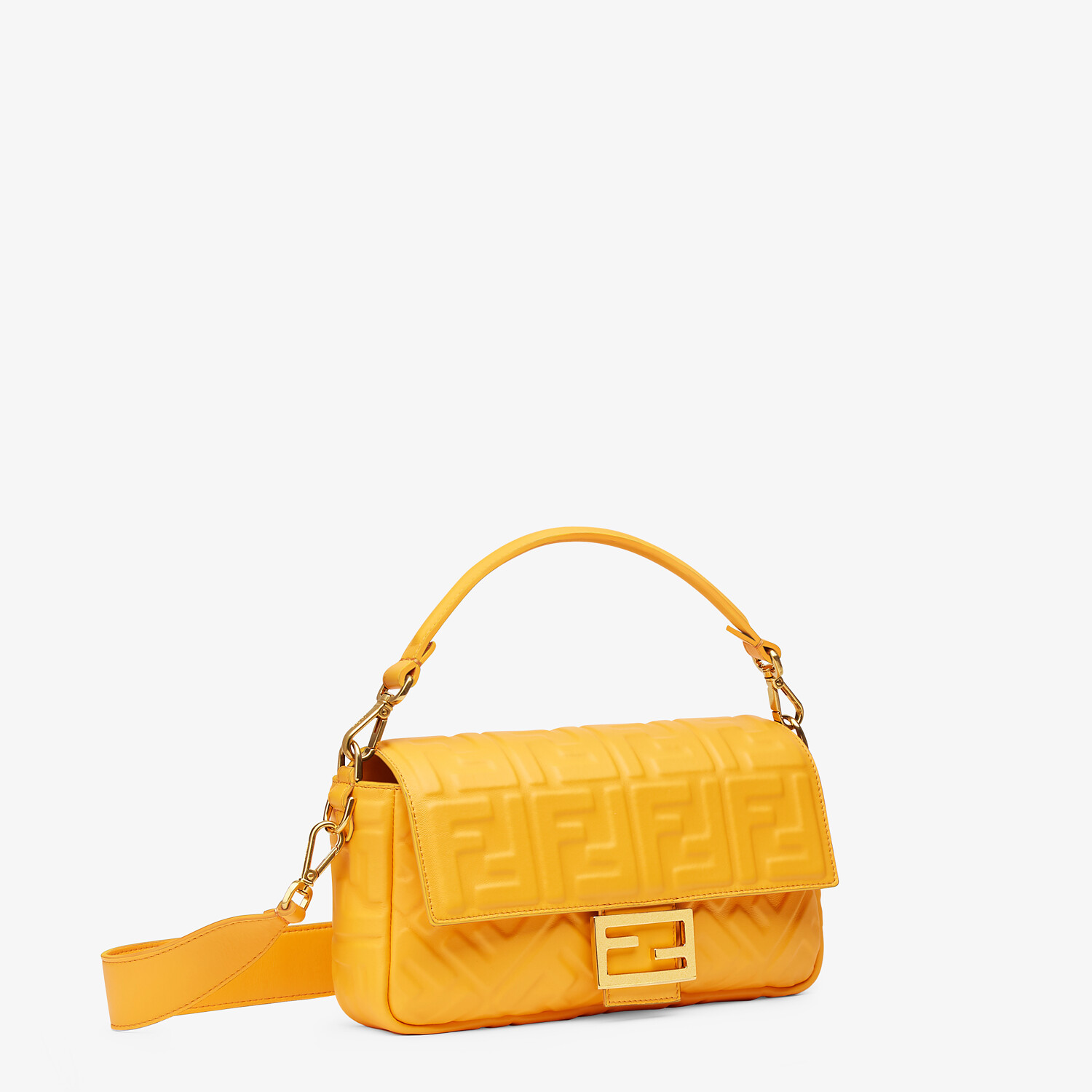 FENDI BAGUETTE - Orange nappa leather bag - view 3 detail