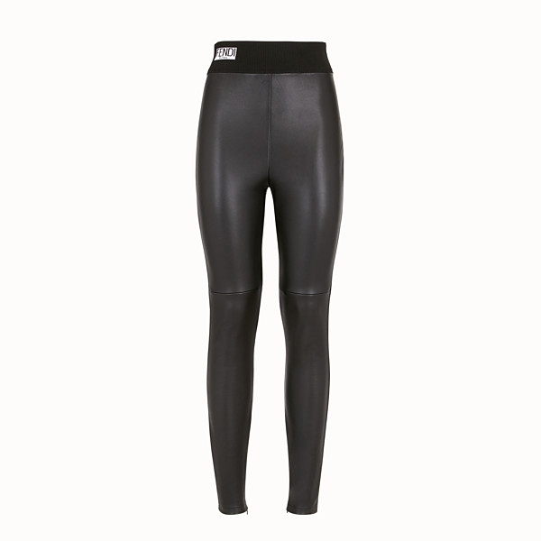 FENDI LEGGINGS - Black leather leggings - view 1 small thumbnail
