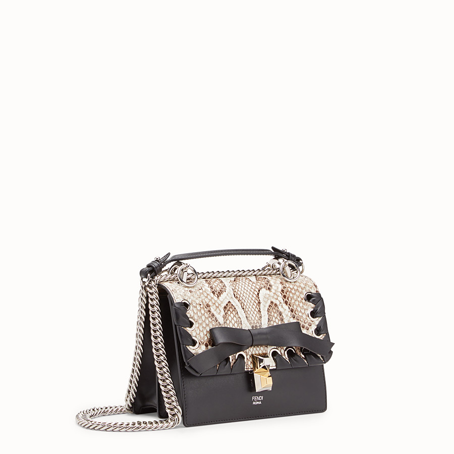 FENDI KAN I SMALL - Black leather mini-bag with exotic details - view 2 detail