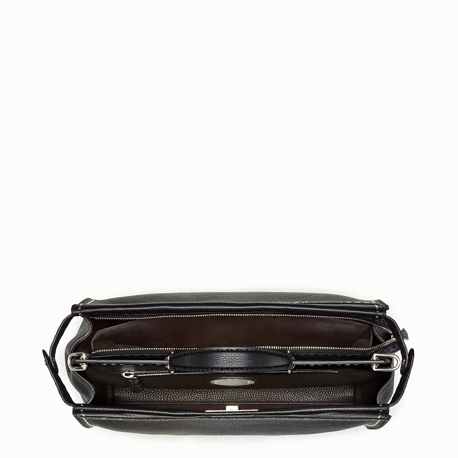 FENDI PEEKABOO - in black Roman leather with metallic stitching - view 4 detail