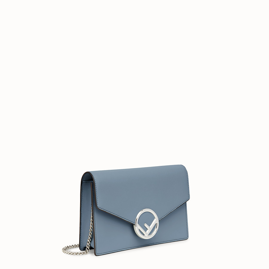 FENDI WALLET ON CHAIN - Blue leather mini-bag - view 2 detail