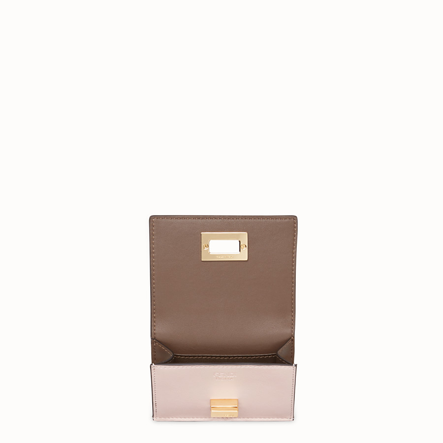 FENDI MICRO TRIFOLD - Pink leather wallet - view 3 detail