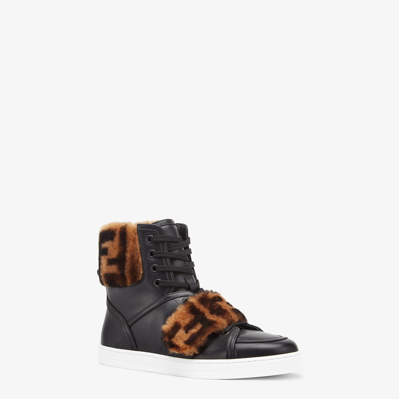 FENDI SIGNATURE - Black leather sneakers - view 2 detail