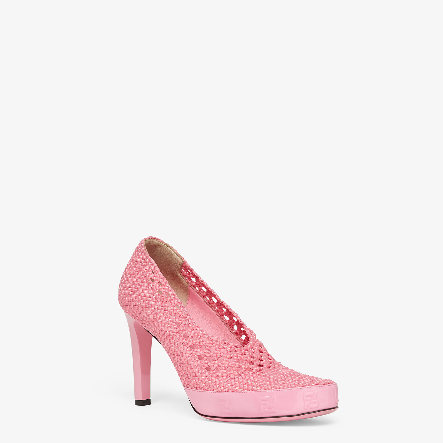 FENDI FENDI REFLECTIONS PUMPS - Elasticated pink lace pumps - view 2 detail