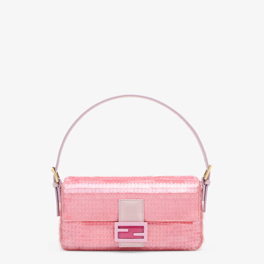 FENDI BAGUETTE 1997 - Pink satin bag with sequins - view 1 detail