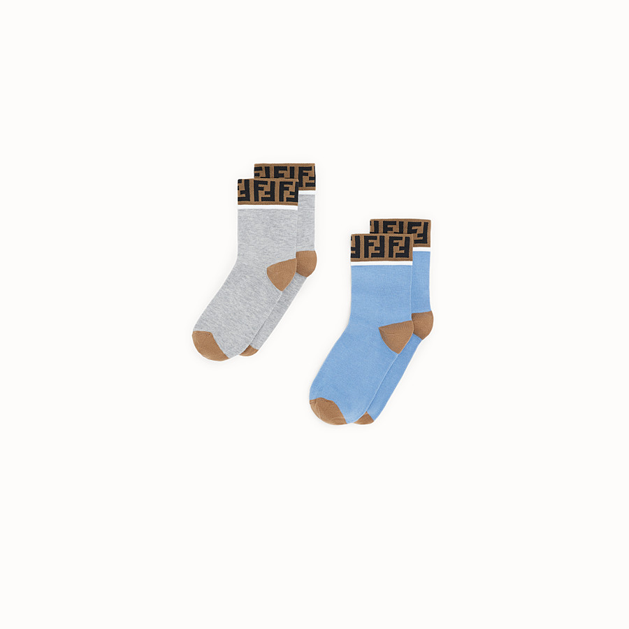 FENDI SOCKS - Pair of grey and light blue cotton socks - view 1 detail