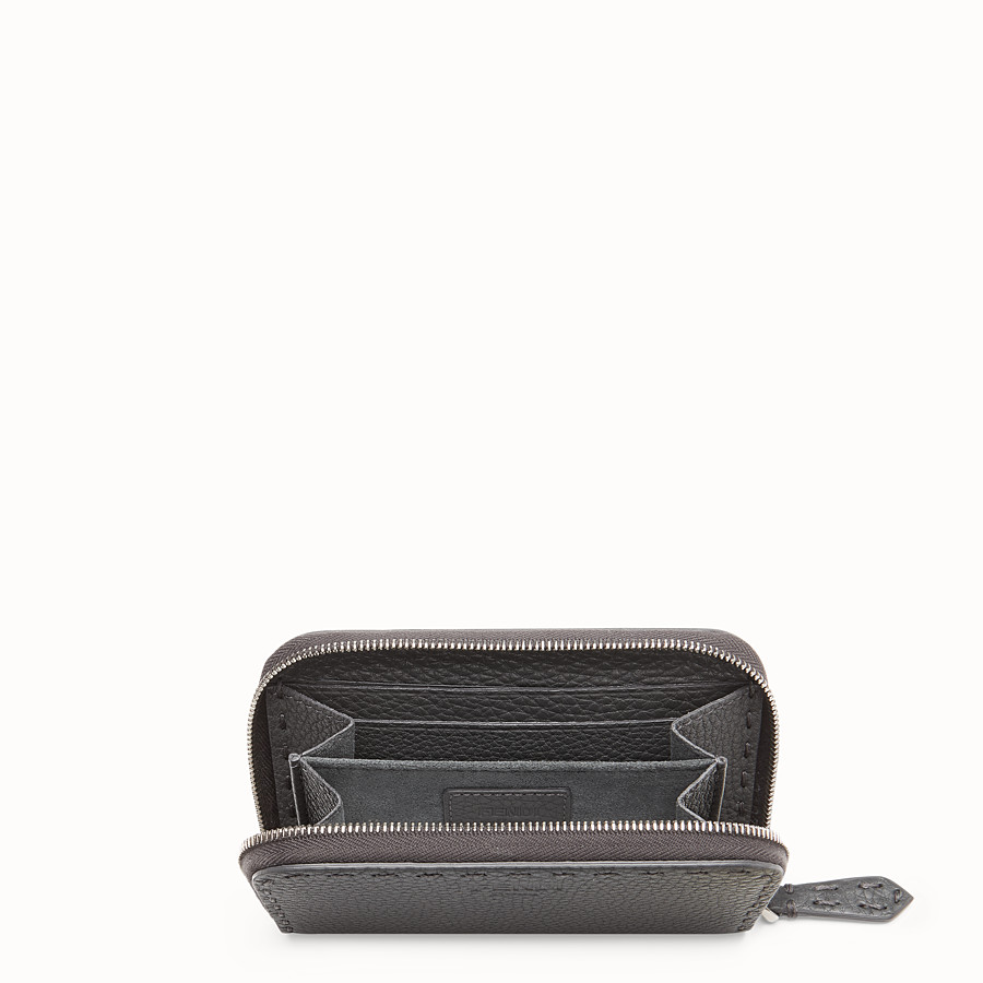 FENDI SMALL ZIP-AROUND - Grey leather wallet - view 4 detail