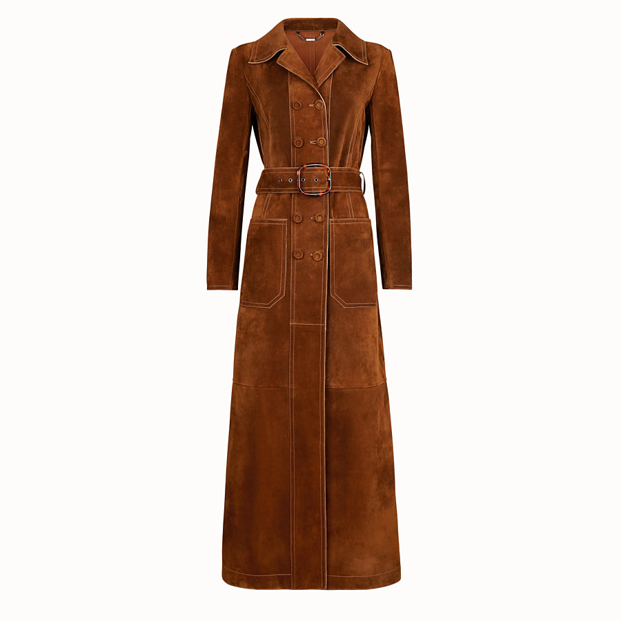FENDI OVERCOAT - Brown suede trench coat - view 1 detail